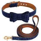 Small Dog Collar and Leash Set Cute Bow Tie Necklace Walking Leads for Pet Puppy