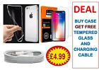 DEAL ALL 3 IN 1 BUNDLE, ALL IPHONE ( GEL CASE, TEMPERED GLASS & CABLE)