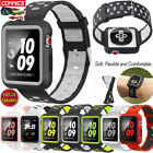 Compatible with Apple Watch 38mm 42mm Sport Silicone Strap Watch Band Case Cover