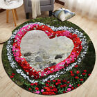 Happy Valentine's Day Red Roses Round Area Rugs Floor Mat Bedroom Carpets Decor