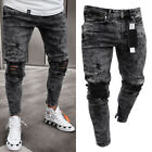 2019 Mens Ripped Skinny Biker Jeans Destroyed Frayed Taped Slim Fit Denim Pants