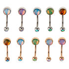 5Pcs Rhinestone Belly Bars Crystal Dangly Reverse Top Drop Navel Button Ring