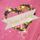 Happy Birthday Girl Luminous Cake Toppers  Dessert LED Flower Leaf Wreath