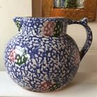VINTAGE CHRISTIAN RIDGE  ART POTTERY PITCHER W/ SPONGEWARE GLAZE