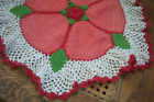 Vintage Granny Doily Red Green White Large Shabby Chic