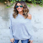 Women Bat Sleeve Off Shoulder Knitted Blouse Casual Sweater Sexy Loose Tops New
