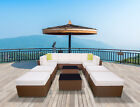 Outdoor Furniture Patio Brown Wicker Rattan Sofa Chair Set Cushioned Seat Garden