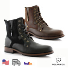 Men's Casual Leather Suede Zipper Combat Motorcycle Formal Hiking Dress Boots