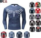 Men's Gym T-Shirt Long Sleeve Compression Superhero Avengers Marvel Fitness Tee image