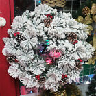 Frosty Snow Christmas Wreath Red Pine Holiday Door Window Outdoor Indoor Decors