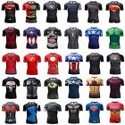 Superhero Superman Marvel Panther 3D Compression T-shirt Fitness Cycling GYM TOP