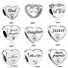 Daughter DAD MOM European CZ Charm Beads Fit 925 Silver Bracelet Necklace Chain