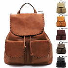 Elphis Whipstitch Flap Over Drawstring Backpack Purse Womens Large Handbag