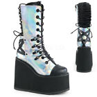 Demonia Swing 120 Silver Hologram Exposed Back Wedge Platform Mid Calf Boots