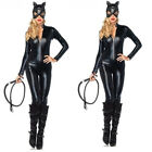 Sexy Catwoman Catsuit Shiny Super Hero Halloween Night Costume Leather Jumpsuit