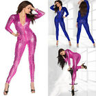 Hot Women Sexy Shiny Leather Latex Jumpsuit Hollow Out Hole DJ Dance Catsuit