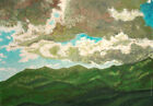 Naive Art Mountain Landscape Vintage oil painting signed