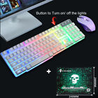 T6 Rainbow Backlight Usb Ergonomic Gaming Keyboard and Mouse Set for PC Laptop K