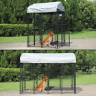 Covered Dog Kennel Outdoor Steel Wire Cage Pet Pen Sun Cover Shade House 2 sizes