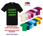 Childrens Kids Fruit of the Loom TShirt Tee Shirt Legends Are Born ** Any Month
