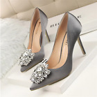 Womens Pumps Pointed Toe High Heels Rhinestone Crystal Wedding Bridal Shoes