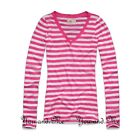 NEW HOLLISTER L/S V NECK T SHIRT WOMEN Beacon's Beach Slim Fit Tee Pink XS S M L
