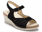 $120 Eric Michael Women's Black Gray Perforated Wedges Shoes - Made in Italy