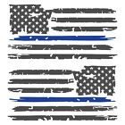 Set of 2 Dark Grey Thin Blue Line Distressed USA American Flag Decal Stickers