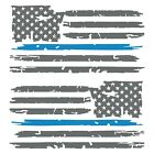 Set of 2 Silver Grey Thin Light Blue Line Distressed USA Flag Decal Stickers