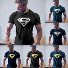 Men Superman Print Short Sleeve Muscle Tee Tops Casual Slim Workout Gym T-shirt image