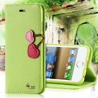FOR iPHON4 4S PHONE CASES HIGH QUALITY LOVELY LEATHER CHERRY HEART FLIP COVER