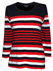 Captain Corsaire Womens 3/ 4 Sleeve Stripey Tee - Navy / Red / White