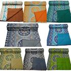 Queen Cotton Kantha Quilt Throw Blanket Bedspread Indian Handmade Queen Cotton  image