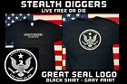 Stealth Diggers great seal black t shirt live free or die metal detecting