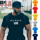 ALPHA Gym Men Muscle Fitness Cotton Fit Tee Workout T- Shirt Athletic Clothes