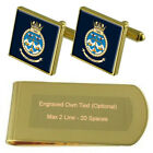 Royal Navy 700x Fleet Air Arm Gold Clip-Krawatte Manschettenknöpfe Schachtel Set