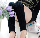 Women Crochet Knit Ribbed Leg Warmers Solid Knee High Winter Wool Boot Sock Long