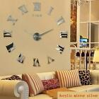 Large Wall Clock 3D Mirror Sticker DIY Big Watch Unique Numbers Art Home