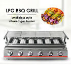 Used, 6 Burners Stainless Steel BBQ Grill LPG Gas Height Adjustable Tabletop Camping for sale  China