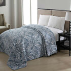 Bedspread Pretty Blue Floral Print Pattern Cottage Chic Charm Machine Washable image