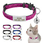 Внешний вид - Bling Sequins Cat Breakaway Collar with Bell Free Engraved Safety Buckle 6 Color