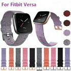 For Fitbit Versa Strap Replacement Woven Fabric With Rose Gold Buckle Watch Band image