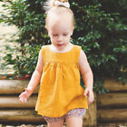 6M-3T Baby Girl sleeveless Summer Linen Cotton vest solid Blouses Dress Shirts