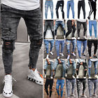 US Men Ripped Biker Skinny Jeans Frayed Destroyed Trousers Slim Fit Denim Pants