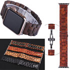 Wood Stainless iWatch Band Strap Wrist For Apple Watch Series 5 4 3 2 Bracelet  image
