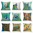 Peacock Print Cotton Linen Decorative Pillow Case Sofa Cushion Cover Home Decor image