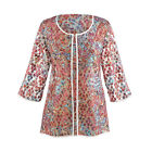 Women's Fashion Jacket - Sophia Embroidered Open-Front Mesh with 3/4 Sleeves