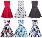 Kate Kasin Girls Sleeveless Vintage Print Swing Party Dresses Size 6-15 Years