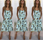 UK Womens Strappy Button Pocket Ladies Summer Holiday Beach Midi Swing Sun Dress