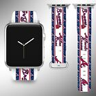Atlanta Braves Apple Watch Band 38 40 42 44 mm Fabric Leather Strap 01 on Ebay